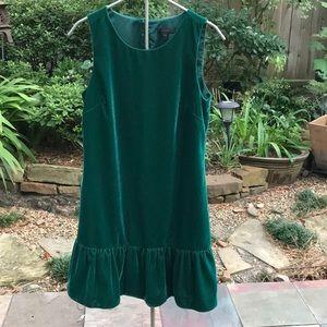 J Crew Sleeveless Green Velvet Dress